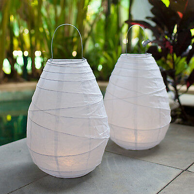 Pair of Warm White LED Battery Operated Wedding Outdoor Hanging Paper Lanterns
