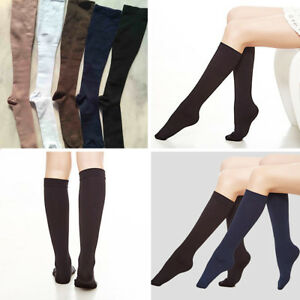 125c7c60dd 2 Pairs Women Fleece Lined Compression Socks Knee High Stockings ...