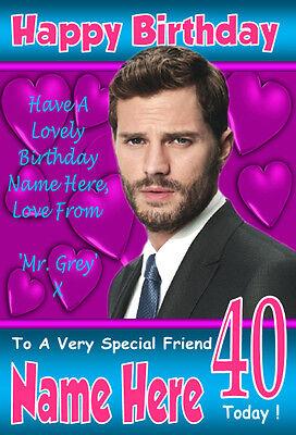 JAMIE DORNAN 50 SHADES OF GREY Personalised Birthday Card 1 ANY NAME AGE ETC
