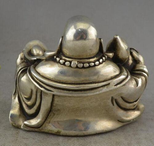 Chinese Buddhism Miao Silver Gourd Yuanbao Happy Laugh Maitreya Buddha Statue