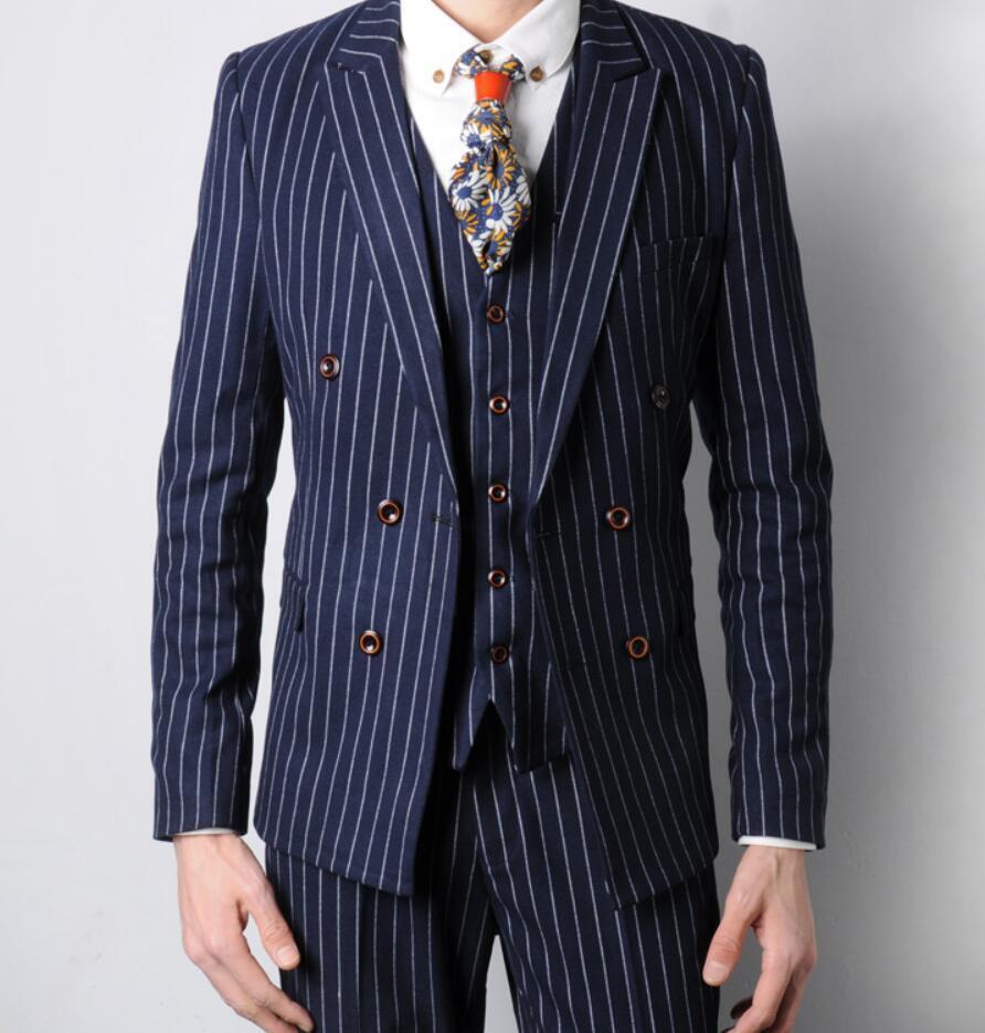 Mens Double Breasted Coats Pant Vest 3Pcs Sets Slim Fit Wedding Suits Coat Ths01