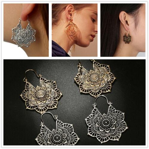 Fashion Women Vintage Mandala Flower Round Pendant Drop Dangle Hook Boho Earring