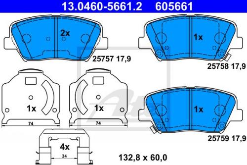Bremsbelagsatz Scheibenbremse für Bremsanlage Vorderachse BOSCH 0 986 494 132