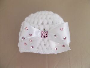 Hand-crochet-Romany-bling-white-baby-girls-beanie-with-large-white-bow-0-3mths