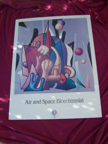 """AIR & SPACE 1984 BICENTENNIAL """"SIGNED"""" POSTER- SPACE ODYSSEY - YANKEL GINSBURG"""