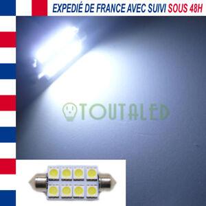 AMPOULE LAMPE NAVETTE C10W 42MM 12V 8 LED 5050 BLANC XENON INTERIEUR PLAFONNIER