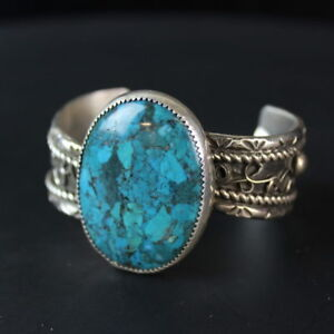 Tribal-design-Blue-Turquoise-Stone-Sterling-Silver-925-old-pawn-Navajo-bracelet