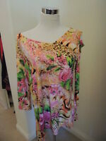 Klaveli Size Xl Bare Shoulder Floral Print Travel Knit Stretch Top $105