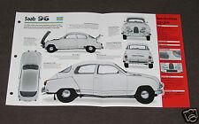 1956-1980 SAAB 96 (1963 850 GT) Car SPEC SHEET BOOKLET PHOTO BROCHURE