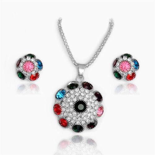 Women Fashion Jewelry Pendant Crystal Choker Chunky Statement Chain Necklace Set