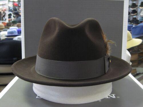 STETSON NORWALK CHOCOLATE FUR FELT FEDORA DRESS HAT