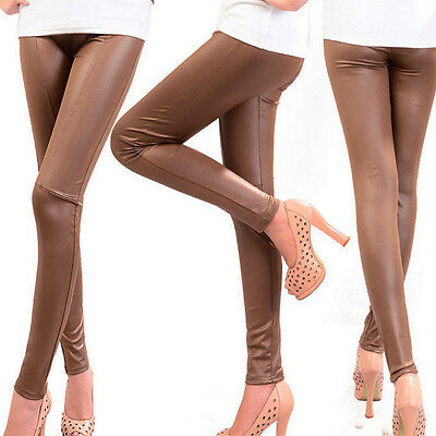 Women Ladies High Waist Wet Look Faux Imitation Leather Leggings Plus Size Pants