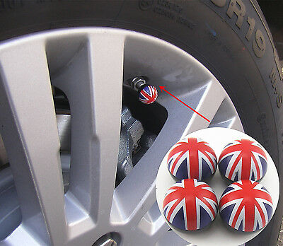 4 x Union Jack British Flag Style Car SUV Wheel Tire Valve Stems Dust Caps Cover