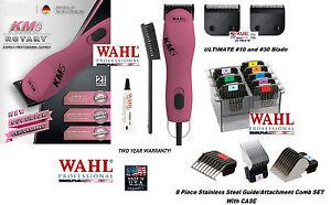 Wahl KM5 ULTIMATE SUPER DUTY PINK Clipper KIT&10,30 Blade&8 Steel Guide Comb Set