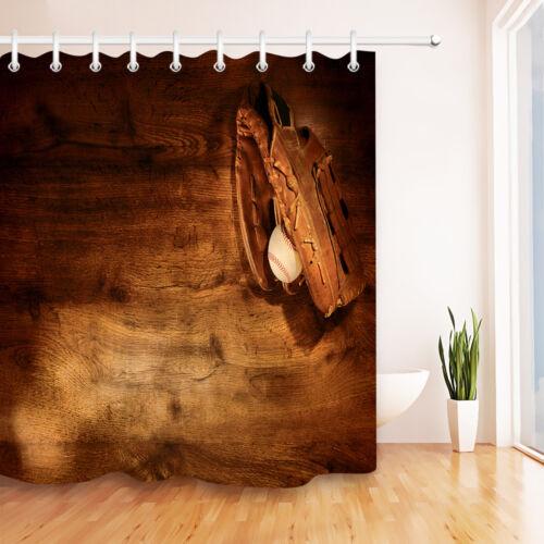 Baseball Game Digital Shower Curtain Old Gloves Sports Wooden Deck Bath Decor