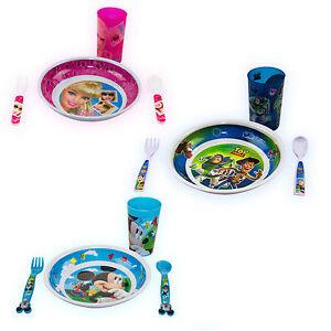 Kids-4pcs-dejeuner-diner-ensemble-Disney-cuillere-tasses-couverts-manger-plat-Garcons-Filles