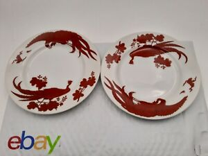 VTG PAIR NEIMAN MARCUS FINE CHINA RED PEKING PEACOCK SALAD BREAD PLATES 8 INCH