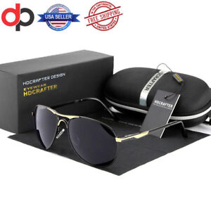 Image is loading NEW-HDCRAFTER-Men-039-s-Aviator-Polarized-UV400-