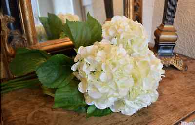 Bunch of 3 Cream Faux Silk Hydrangeas, Ivory White Realistic Artificial Flowers