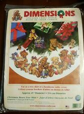 "Dimensions ""Christmas Bears Tree Skirt"" 8693 Cross Stitch Kit 2002 Package Torn"