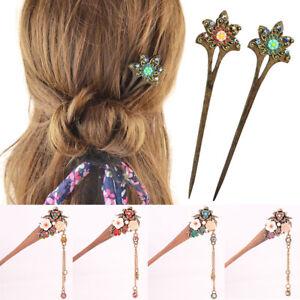 Vintage-Women-Tassels-Hair-Sticks-Wooden-Hairpin-Crystal-Flower-Hair-Accessories