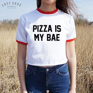 Pizza-Is-My-Bae-Crop-Ringer-Tee-Top-Slice-Cropped-Shirt-Boyfriend-T-shirt-Donut