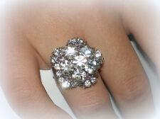 WHITE WEDDING FLOWER CRYSTAL COCKTAIL RING ADJUSTABLE SZ 7/8/9 BRIDESMAIDS GIFT
