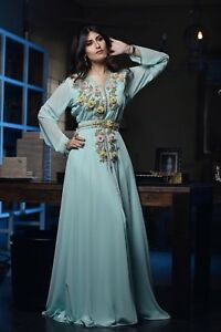 Details About Royal Moroccan Caftan Ethnic Bridal Dress Morocco Wedding Robe Handmade