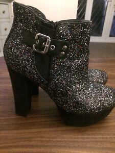 Taglia Usa Ladies nero Boots Guess 6 8m Uk Tacco Splendido Alto Glitter SOa0Ax