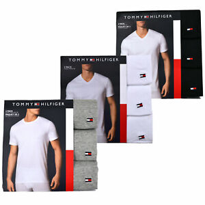 Tommy-Hilfiger-Mens-Undersirt-3-Pack-Short-Sleeve-Crew-Neck-V-Neck-Cotton-New