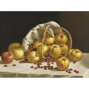Francis-Still-Life-Apples-Chestnuts-Basket-Painting-Canvas-Art-Print-Poster
