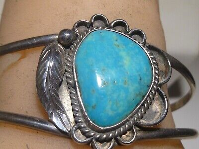 Morenci Turquoise Cuff sterling silver bracelet hand stamped Arizona turquoise handmade artisan jewelry
