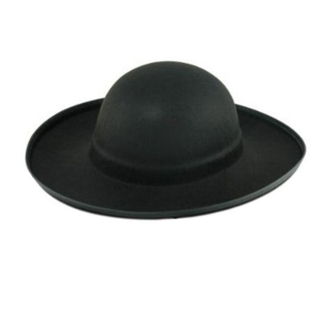 Spanish Hat Black Costume Felt Zorro Mexican Wyatt Earp Flat Brim CHOOSE SIZE