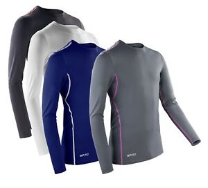 Mens-Compression-Body-Fit-Long-Sleeve-Base-Layer-BLACK-WHITE-BLUE-GREY-T-Shirt
