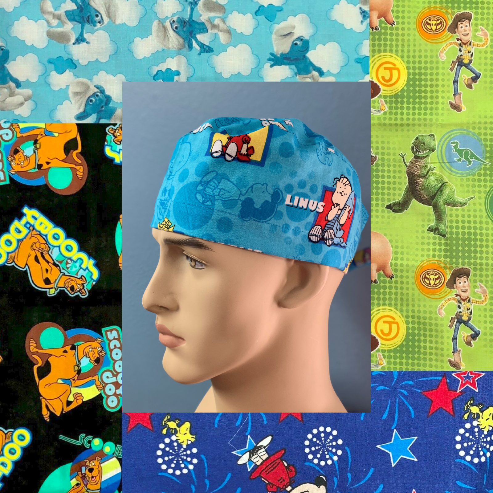 Multi Butterflies On Black Mens and Womens Medical Scrub Cap