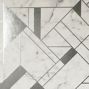 Crown-Luxe-Mayfair-Islington-Papier-Peint-Geometrique-Gris-Argente-M1467