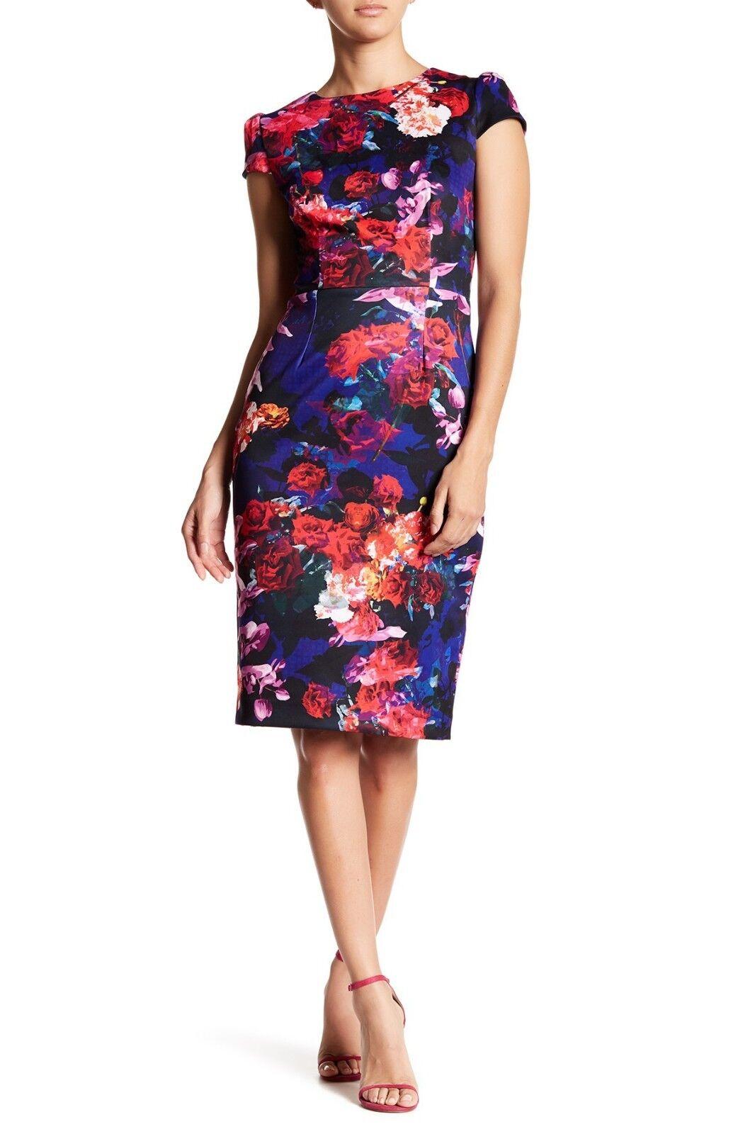 NEW    Betsey Johnson Floral  Midi Sheath Dress Size 14