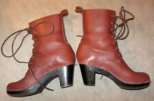 "No. 6  8"" Lace-up Clog Cognac Leather Boots! $410!  sz 37"