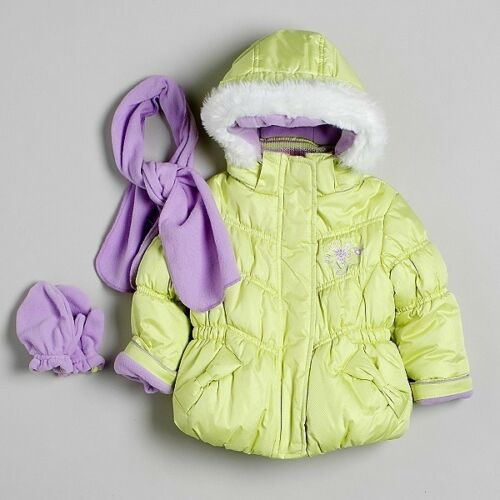 Zero Xposur Infant Girls Floral-Detail Jacket with Scarf and Mittens NWT RV $75