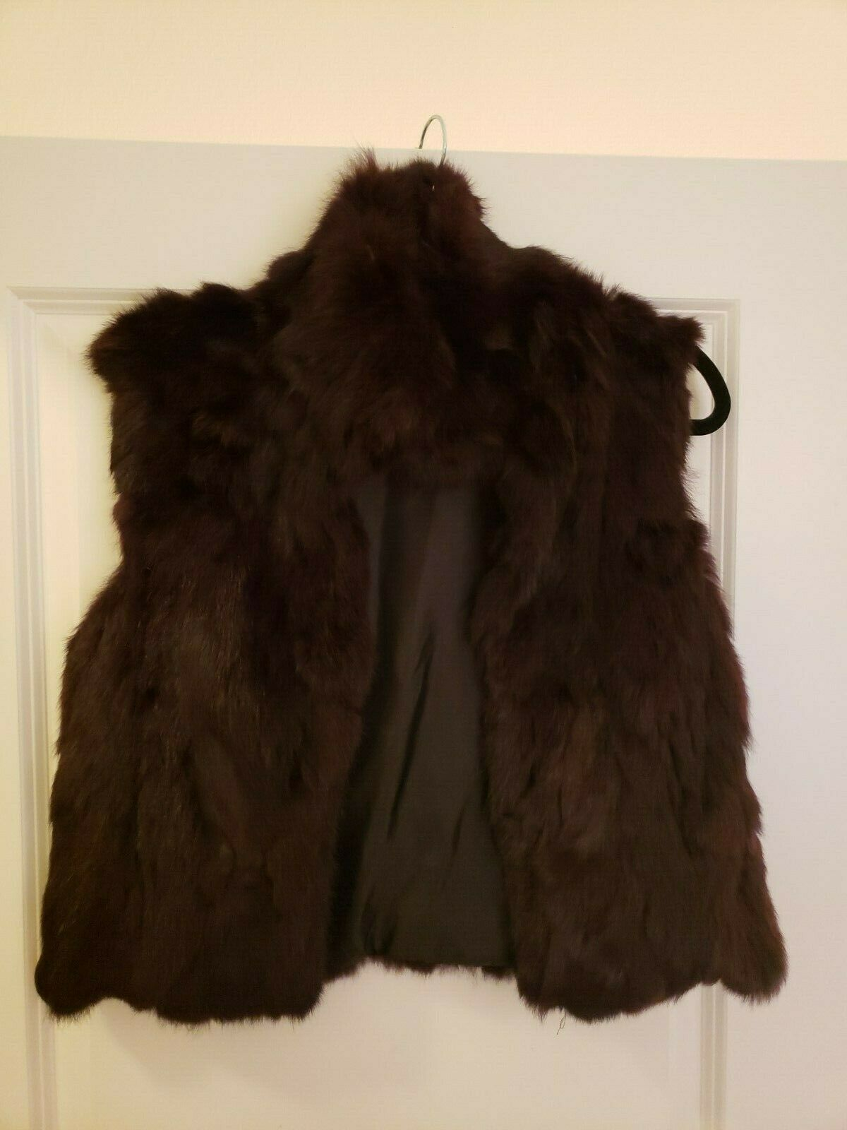 Adrienne Landau Rabbit Fur Short Vest Burgundy Merlot Size Small S