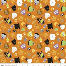Riley Blake Halloween Ghouls & Goodies Fabric.Main Orange.GLOW IN THE DARK - FQ