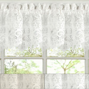 Hopewell-Heavy-Floral-Lace-Kitchen-Window-Curtain-12-034-x-58-034-Valance