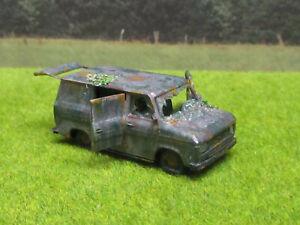 H0-1-87-Ford-Transit-1978-Oldtimer-Scheunenfund-Wrack-Laser-Cut-Gealtert-Rost