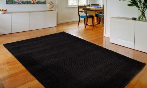 Ultimate Garrison Black Luxury Ribbed Wool Rug in various sizes and runner