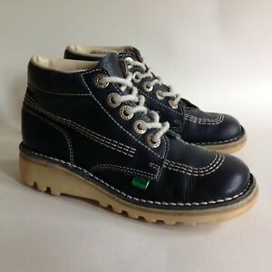 44212a2836 KICKERS Kick Hi Child Boy Girl Navy Blue Leather Lace Up Boot Size ...