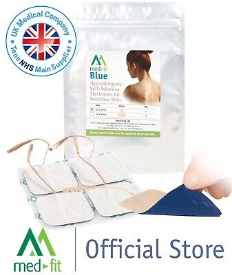 Superior Silver with Blue Gel 4 pack Sensitive Skin TENS Electrodes 44x95mm