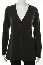 Designer Brown Cashmere Long Sleeve V Neck Sweater Size Medium