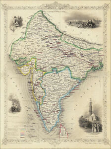 A Map of British India - a  large reproduction of a Tallis original dated 1851
