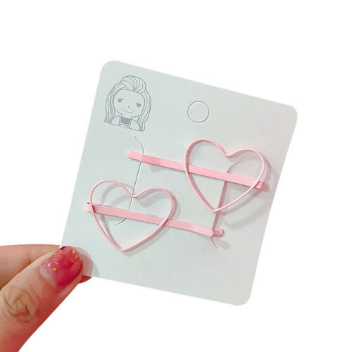 2pcs//set Haarspangen Mädchen Herzform Haarclips Haarschmuck Haarkammer 7 Farbe