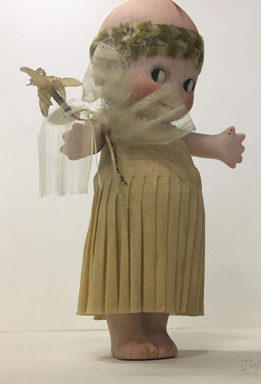 KEWPIE PORCELAIN ORIGINAL robe papier crèpe bouquet et bandeau rosado O'NEILL 1917
